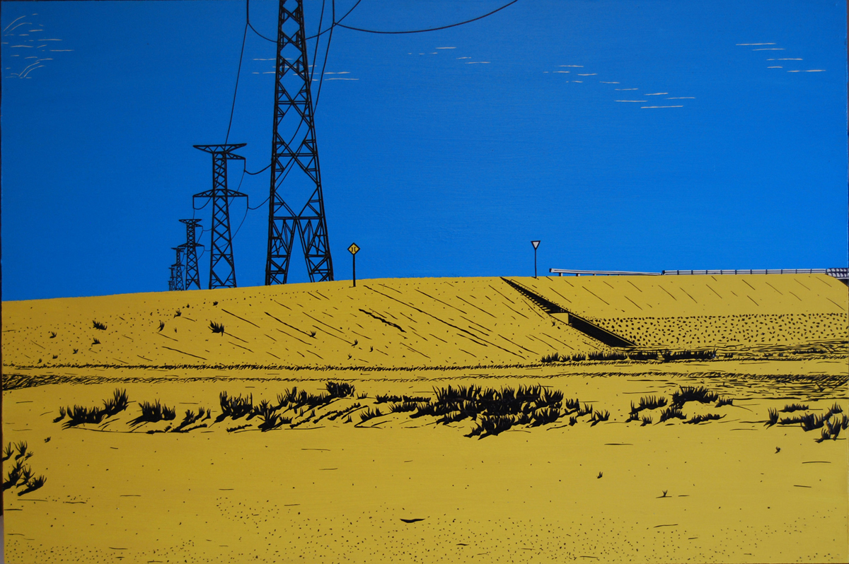 "Bolivian Highway - Blacka dn white electrical tape on wood. (24"" X 36"" (2010"